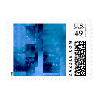 Bokeh 01,blue postage stamp