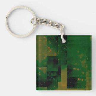 Bokeh 01, verde llavero cuadrado acrílico a doble cara