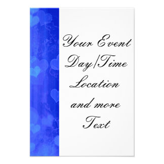bokeh 04 hearts blue I Custom Invite