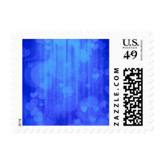 bokeh 04 hearts, blue (I) Postage Stamps