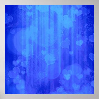 bokeh 04 hearts, blue (I) Posters