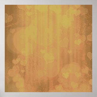 bokeh 04 hearts,golden (I) Posters
