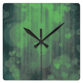Bokeh 04 hearts green (I) Clock