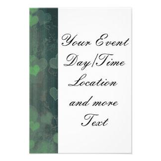 bokeh 04 hearts green I Personalized Invitations