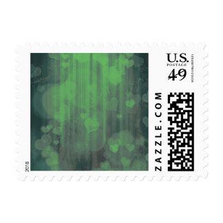 bokeh 04 hearts,green (I) Stamp