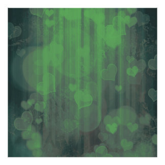 bokeh 04 hearts,green (I) Poster