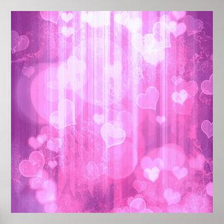 bokeh 04 hearts,pink (I) Posters