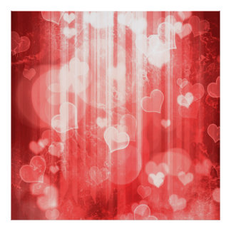 bokeh 04 hearts, red (I) Posters