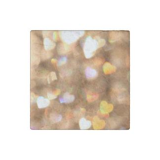 Bokeh Art Heart Stone Magnet