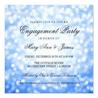 Bokeh azul enciende al fiesta de compromiso invitación 13,3 cm x 13,3cm