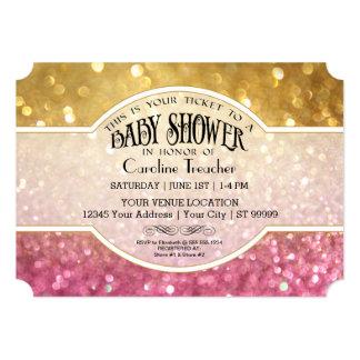 Bokeh Baby Movie Premier Ticket Style Pink Sparkle Card