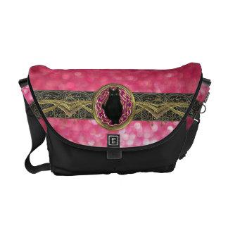Bokeh Bast Goddess of Glitter in Pink Gold & Black Messenger Bags
