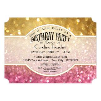 Bokeh Birthday Movie Ticket Style Pink Sparkle Card