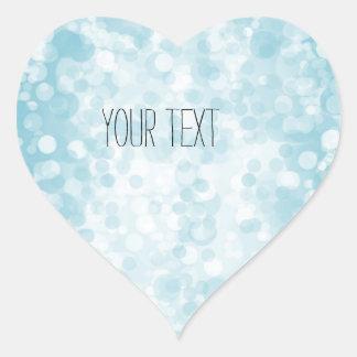 Bokeh blanco azul pegatina en forma de corazón
