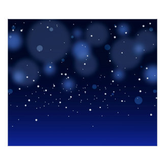 Bokeh Blue Abstract Starry Sky Poster