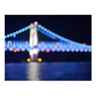 Bokeh Bridge in Blue Postcard