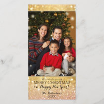 Bokeh Christmas Family Photograph Sparkle Shimmer Holiday Card