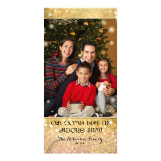 Bokeh Christmas Family Photograph Sparkle Shimmer Picture Card