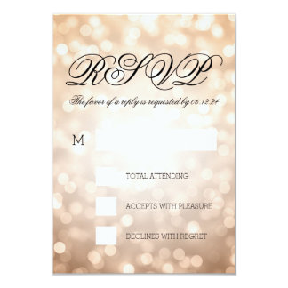 Bokeh de cobre enciende RSVP que se casa elegante Invitacion Personal