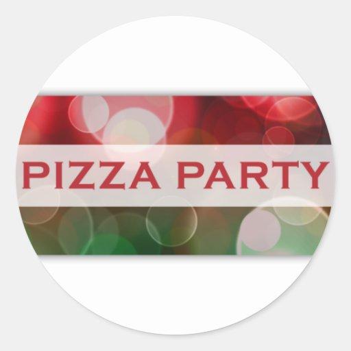 bokeh del fiesta de la pizza pegatina redonda