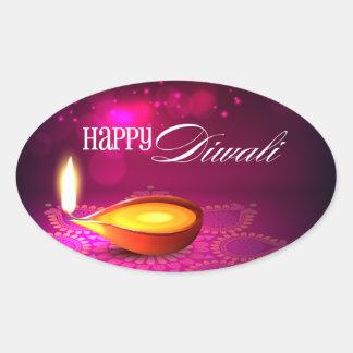Bokeh enciende la lámpara de Diwali Pegatina Ovalada
