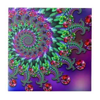 Bokeh Fractal Purple Terquoise Ceramic Tiles