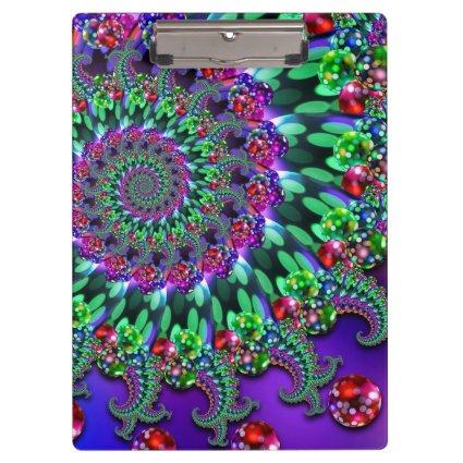 Bokeh Fractal Purple Turquoise Clipboard