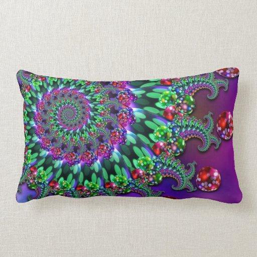 Bokeh Fractal Purple Turquoise Pillow