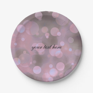 Bokeh Glam Pink Grey & Gold Party Plates