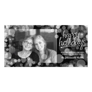 Bokeh Happy Holidays Photo Card: Modern Style Card