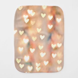 Bokeh Heart Twinkling Lights Glittery Pink Shimmer Burp Cloth