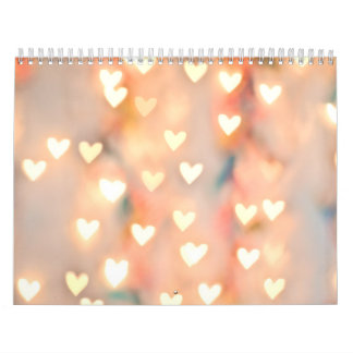 Bokeh Heart Twinkling Lights Glittery Pink Shimmer Calendar