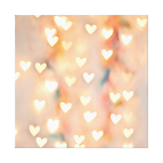 Bokeh Heart Twinkling Lights Glittery Pink Shimmer Canvas Print