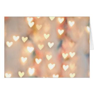 Bokeh Heart Twinkling Lights Glittery Pink Shimmer Card