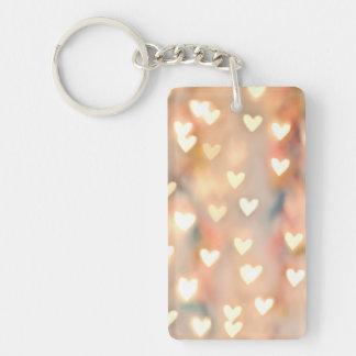 Bokeh Heart Twinkling Lights Glittery Pink Shimmer Keychain