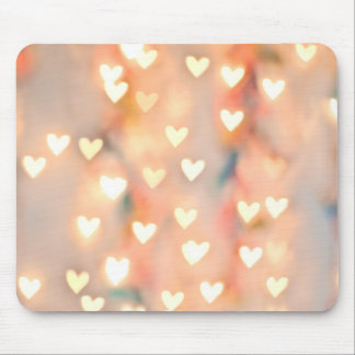 Bokeh Heart Twinkling Lights Glittery Pink Shimmer Mouse Pad