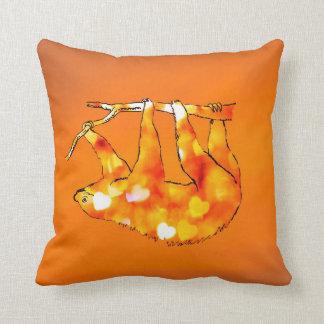 Bokeh Hearts Sloth Throw Pillow