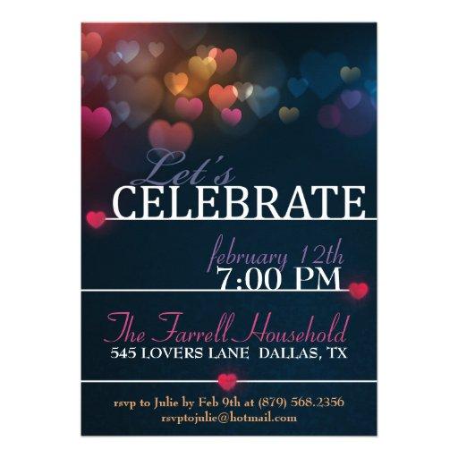 Bokeh Hearts valentine Love Party Invite