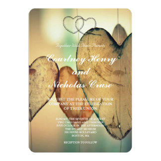 Bokeh Hearts Wedding Invitations