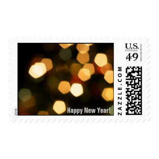 Bokeh Holiday Lights New Year Postage