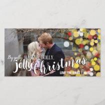 Bokeh Holly Jolly Christmas Photo Card