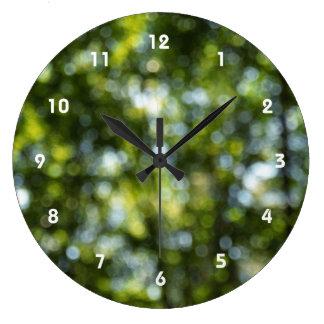 Bokeh in Spring Large Clock