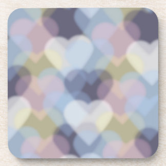 Bokeh Inspired Colorful Hearts Drink Coaster