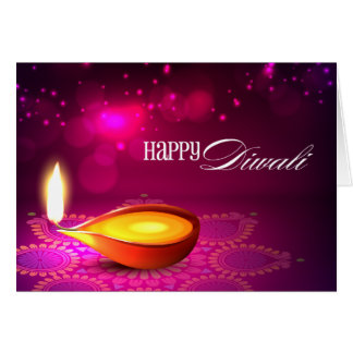 Bokeh Lights Diwali Lamp Greeting Card