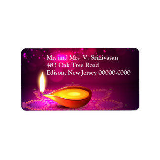 Bokeh Lights Diwali Lamp Return Address Label