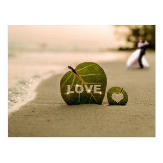 Bokeh Love and Wedding Couple Beach Postcard