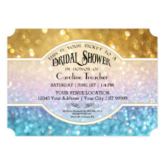 Bokeh Movie Premier Ticket Style Gold Blue Sparkle Card