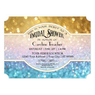 Bokeh Movie Premier Ticket Style Gold Blue Sparkle Card