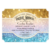 Bokeh Movie Premier Ticket Style Gold Blue Sparkle Invitation
