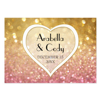 Bokeh Movie Premier Ticket Style Gold Pink Sparkle Business Card Template